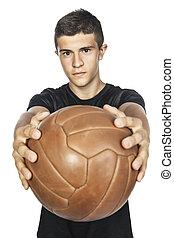 voetballer, op wit