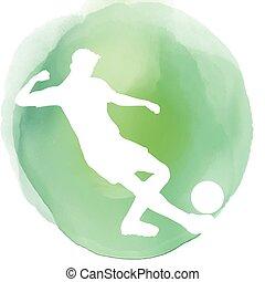 voetballer, silhouette, op, watercolor, achtergrond