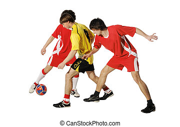 voetballers, jongens, bal, voetbal