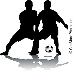 voetballers, silhouette