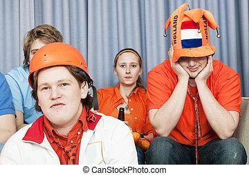 voetbalsupporters, in, ongeloof