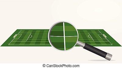 voetbalveld, en, vergrootglas