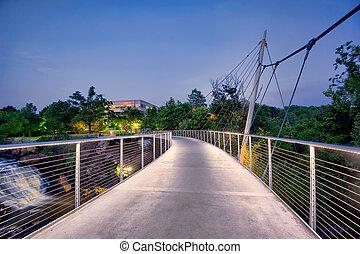 voetbrug, op, dalingen, park