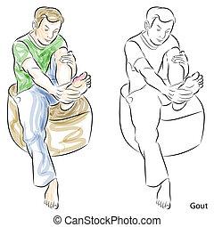 voetjes, gout, masserende handen, man
