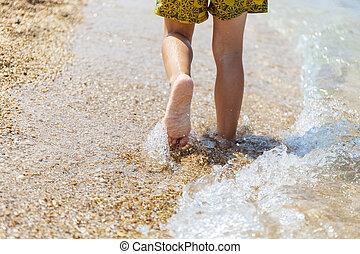 voetjes, in, de, zee
