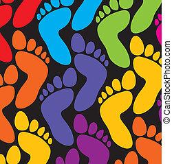 voetjes, kleurrijke, achtergrond
