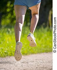 voetjes, rennende , vrouw