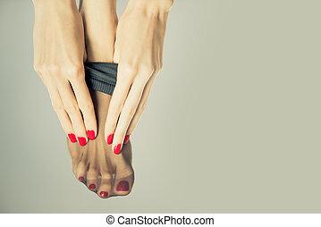 voetjes, sexy, kousen