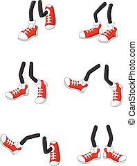 voetjes, wandelende, benen, stok, spotprent