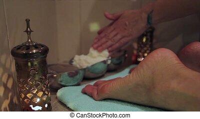 voetmassage, met, olie