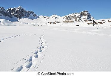 voetsporen, zwitserland, snow., melchsee-frutt