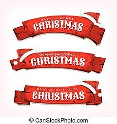 voeux, bois, joyeux, bannières, noël, rouges