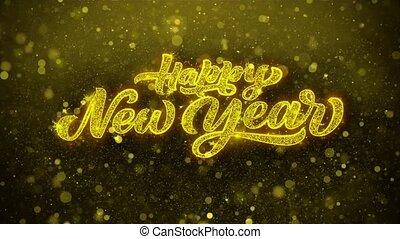 voeux, looped., carte, invitation, feud'artifice, salutations, année, nouveau, heureux, célébration