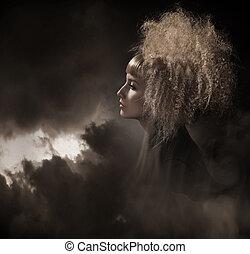 voga, estilo, foto, de, um, gótico, mulher