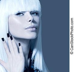 voga, estilo, modelo, portrait., menina, com, cabelo branco, e, pretas, pregos