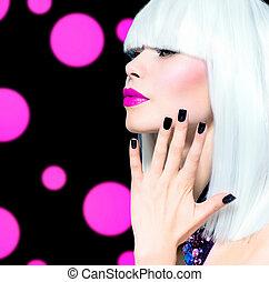 voga, stile, modello, portrait., ragazza, con, capelli bianchi, e, nero, unghia