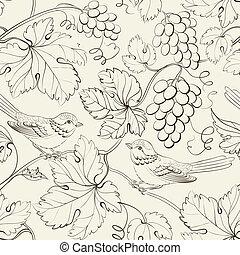 vogel, en, druif, seamless, pattern.