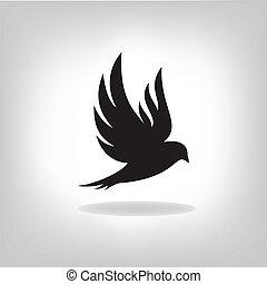 vogel, erweitert, schwarz, freigestellt, flügeln