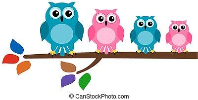 vogel, familie, zweig