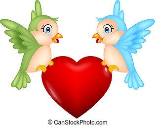 vogel, hart, liefde, spotprent