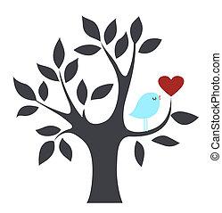vogel, in, een, boompje, met, liefde