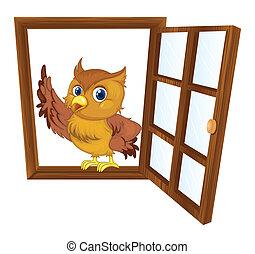 vogel, in, een, venster