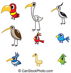 vogel, karikatur, ikone