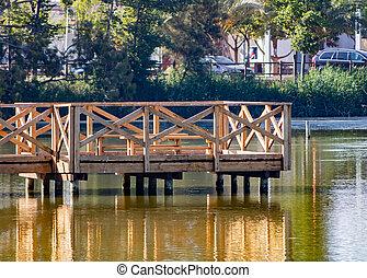 vogel, landungsbrücke, aufpassen