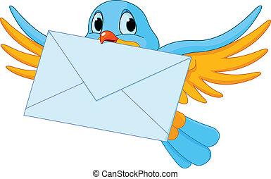 vogel, met, brief