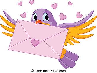 vogel, met, liefde brief