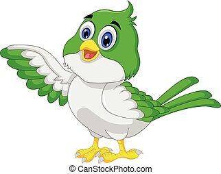 vogel, spotprent, het poseren, schattig