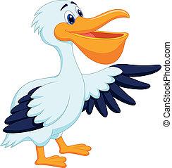 vogel, spotprent, pelikan, zwaaiende