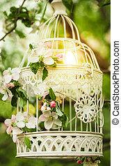 vogelhok, -, romantische, decor