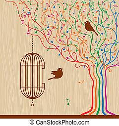 vogelkäfig, baum, musikalisches