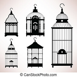 vogelkäfig, käfig, retro, weinlese, vogel