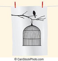 vogelkäfig, vogel, zweig