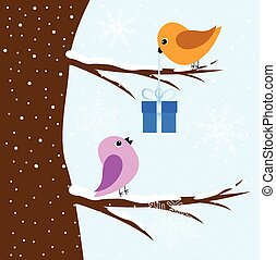vogels, boompje, twee, zittende