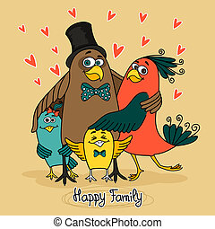 vogels, gezin, vrolijke