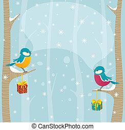 vogels, in, winter, bos