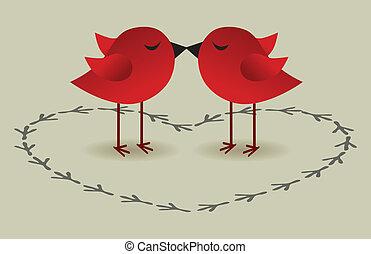 vogels, liefde, kaart