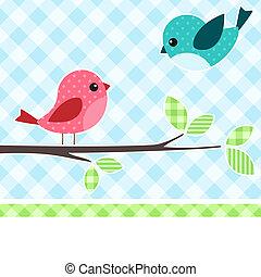 vogels, op, tak