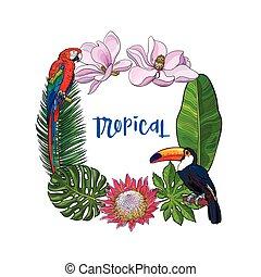 vogels, plein, frame, tekst, bladeren, tropische , palm, plek, bloemen