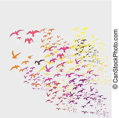 vogels, silhouette, stellen, vector, kunst