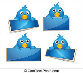 vogels, spotprent, iconen