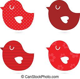 vogels, vector, set, vrijstaand, op wit, (, rood, )
