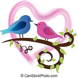 vogels, verliefd, logo