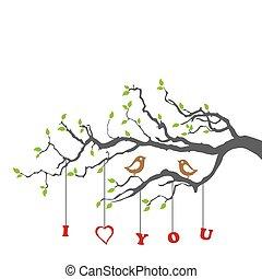 vogels, verliefd, op, een, boomtak