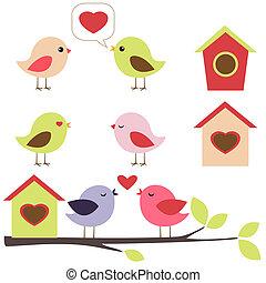 vogels, verliefd, set