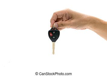 vogn nøgle, hos, hånd
