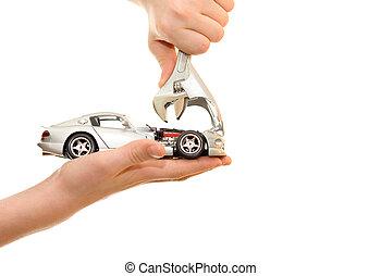 vogn reparer, på, håndflade